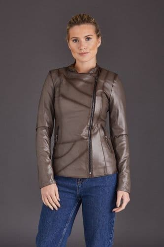 Dark Grey Leather Jacket Womens